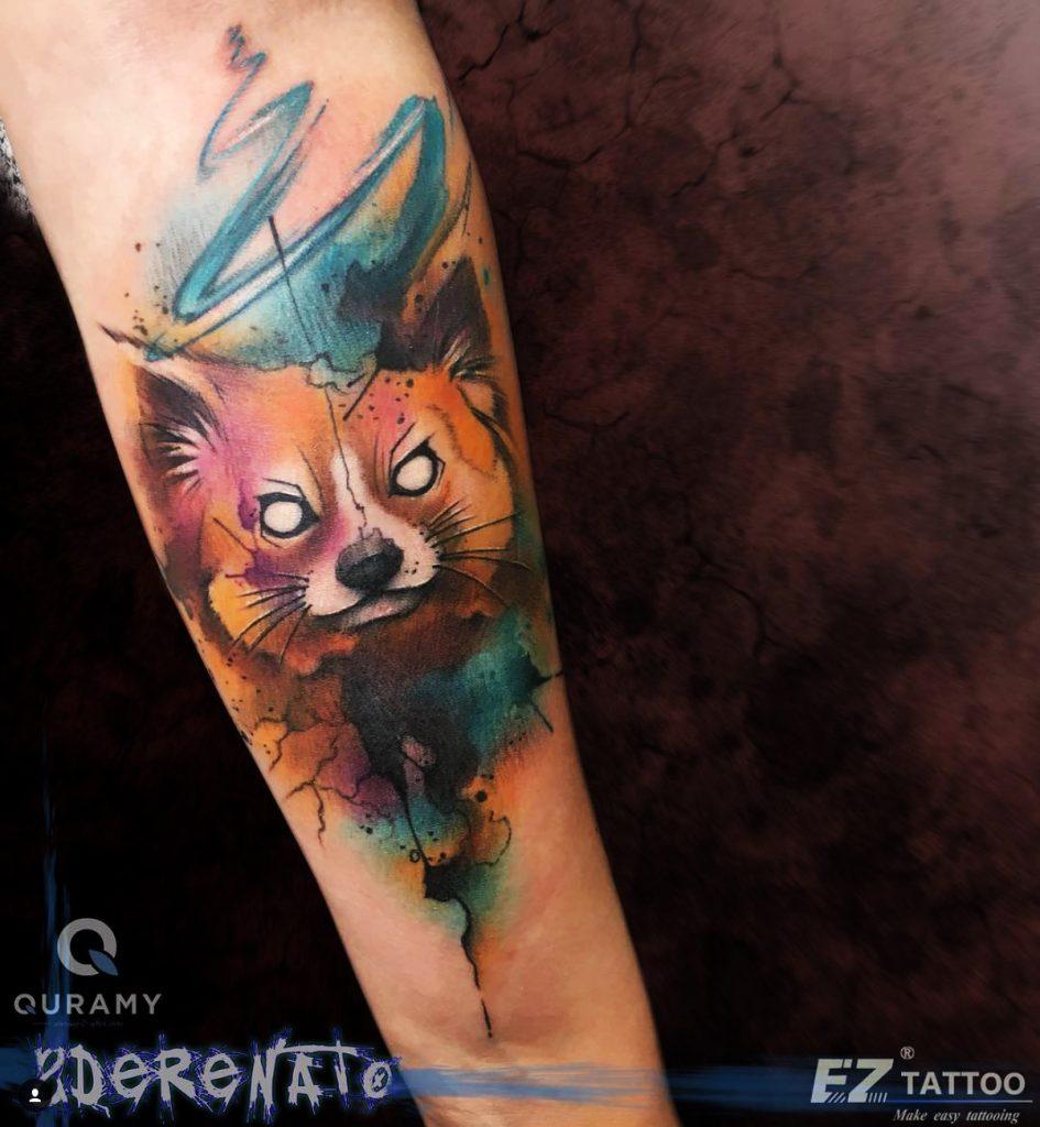 tatuagem aquarela para homens de raposa
