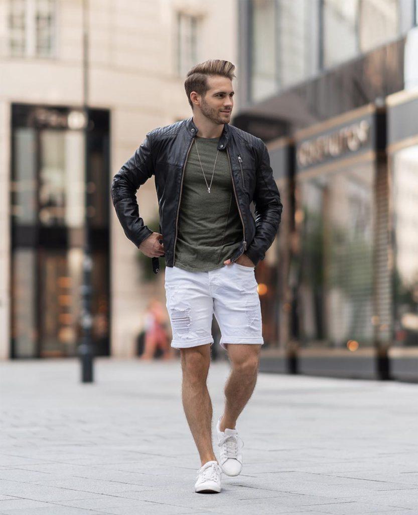 Outfit masculino jaqueta de couro e bermuda