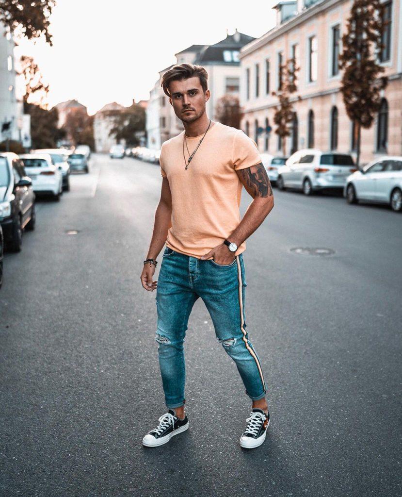 Calça jeans com listra dupla masculina