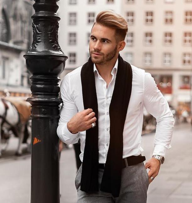 Roupa social com cachecol masculino
