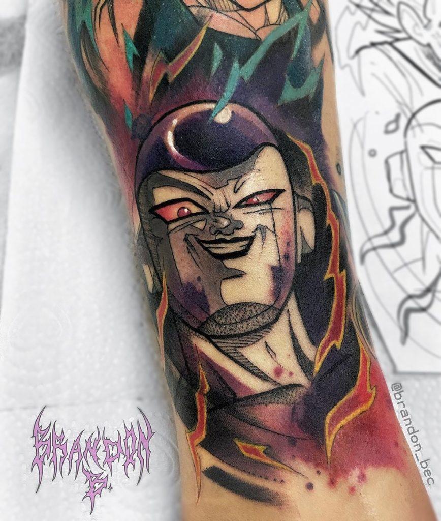 Tatuagem masculina colorida do Freeza