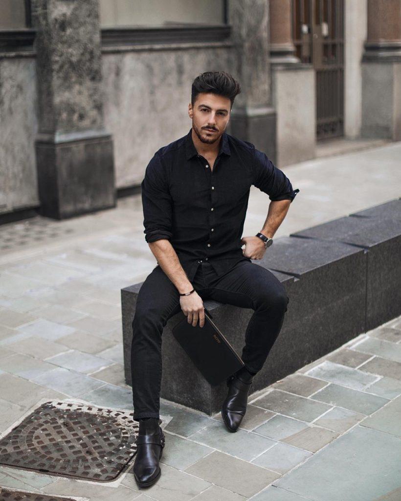 Look masculino All Black com bota