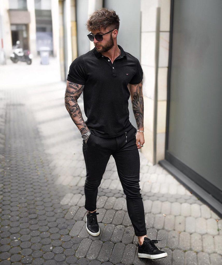 Camisa Polo preta masculina