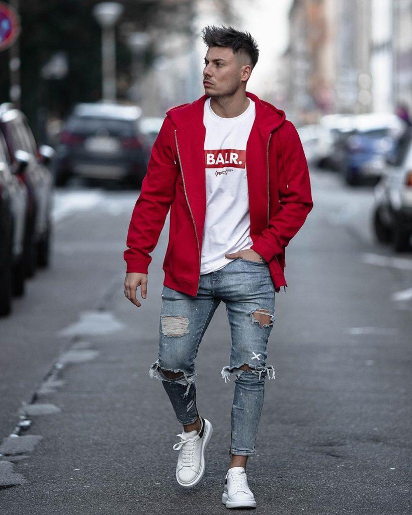 91b30b3eb1 Outfit masculino com moletom vermelho