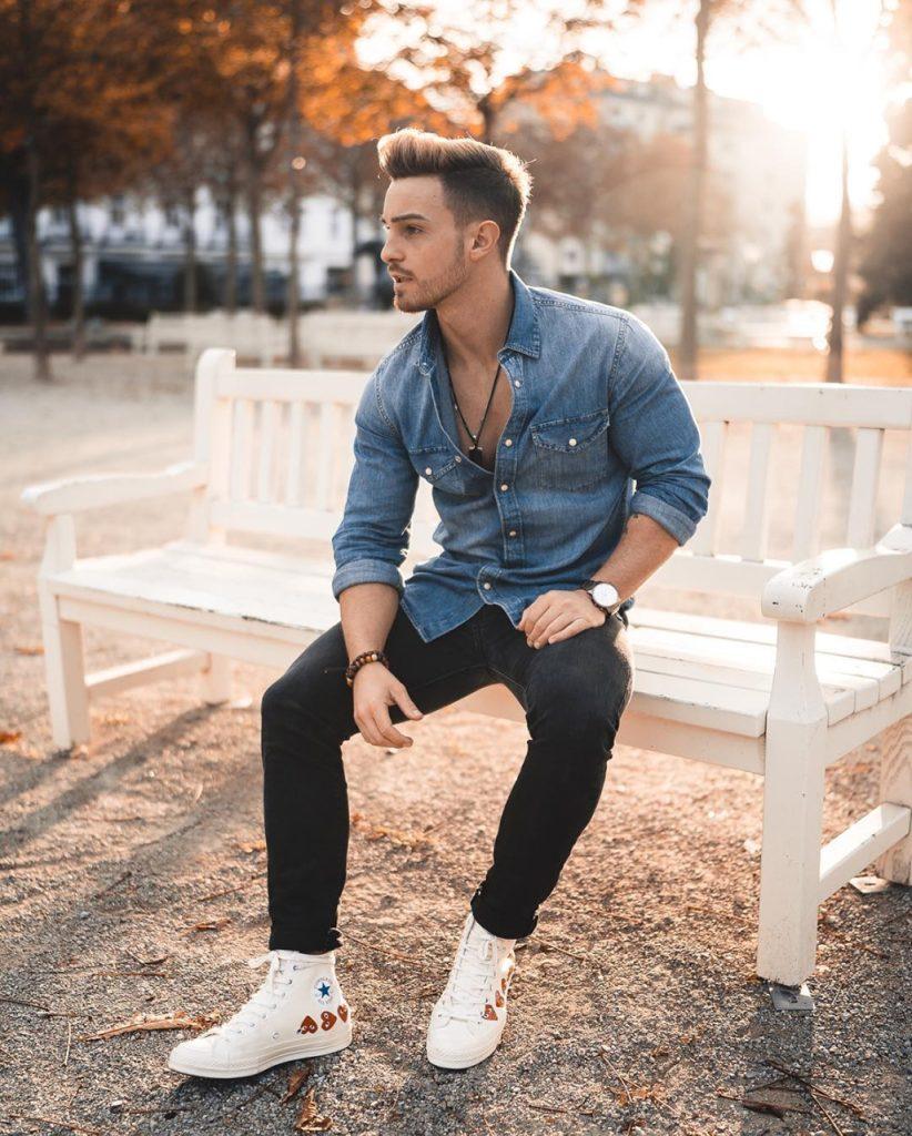 Outfit masculino com camisa de brim