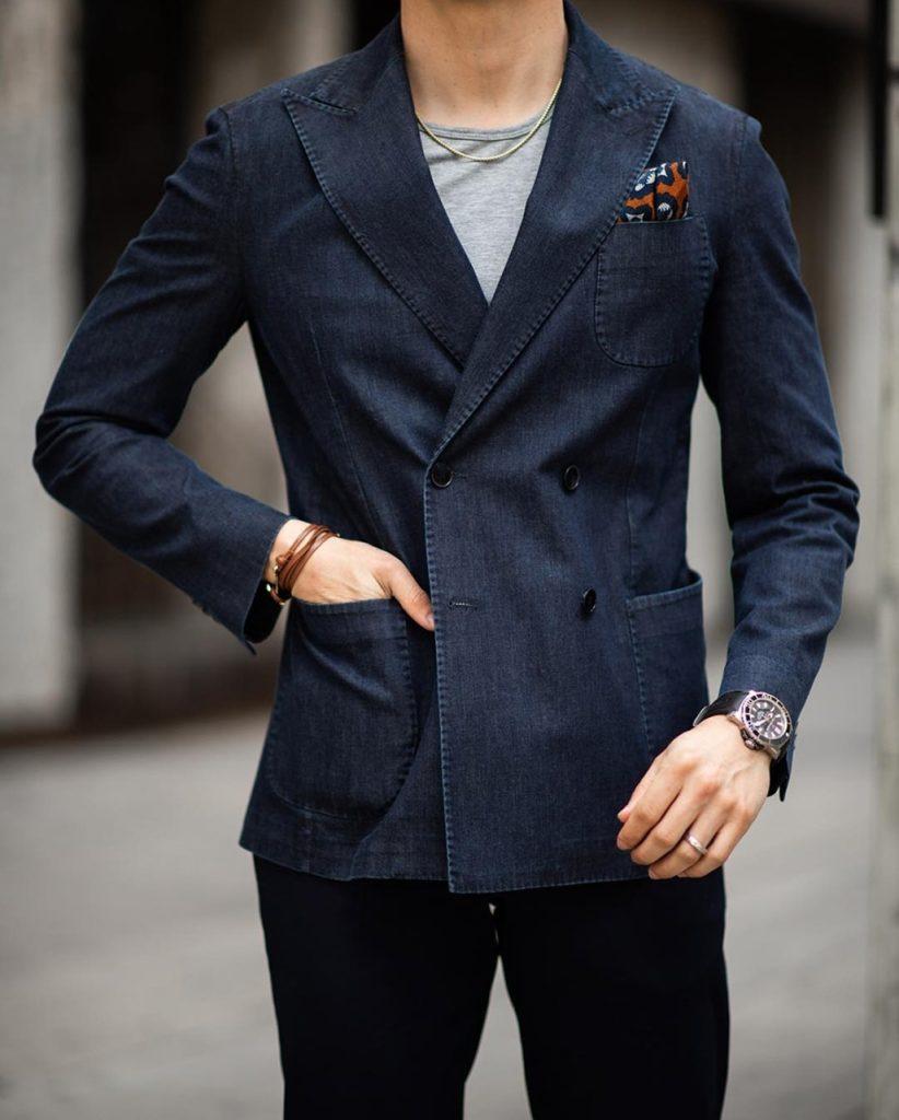 Moda para homens: blazer em jeans