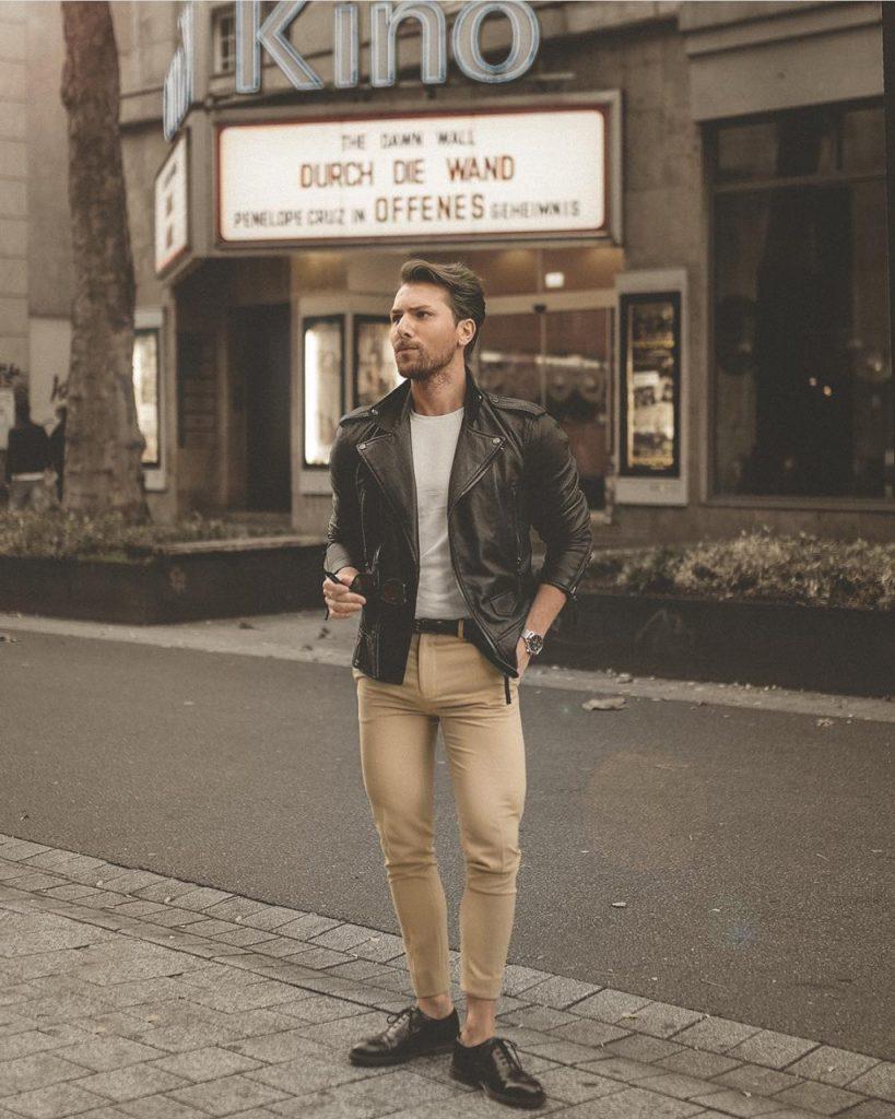 Look masculino casual com jaqueta de couro