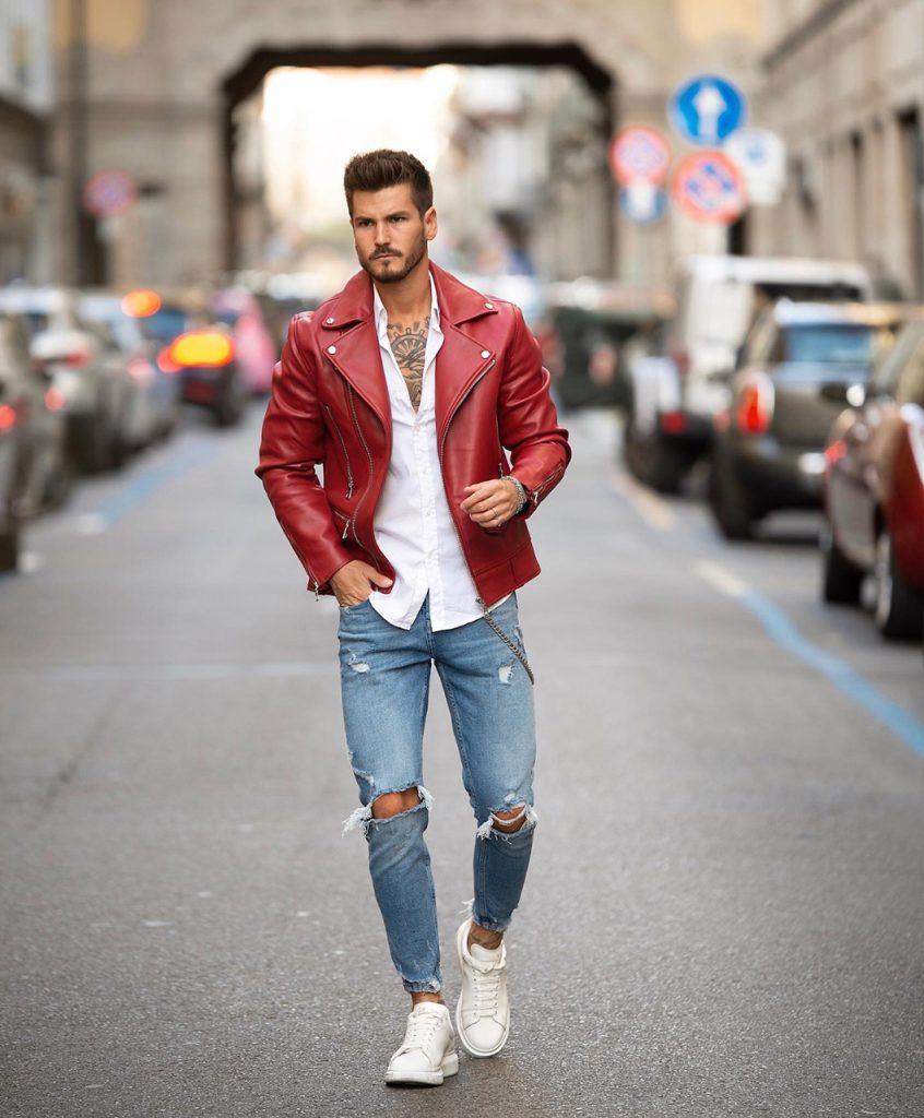 Jaqueta de couro vermelha masculina