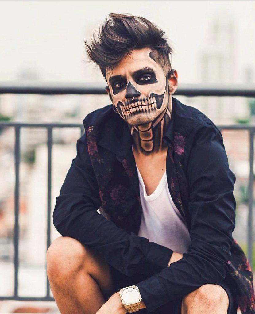 Maquiagem de Halloween para homens de caveira