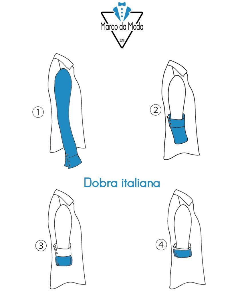 Dobrar a manga da camisa: dobra italiana